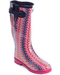 Forever Young - Women's Tall Rubber Printed Faux-fur-lined Rain Boots - Lyst