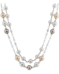 Splendid - Double Row Sterling Silver Necklace With Freshwater Pearls - Lyst