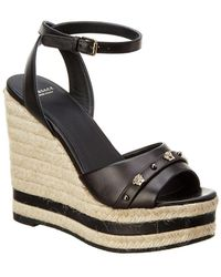 Versace - Medusa Stud Leather Wedge - Lyst