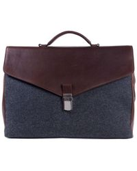 Brunello Cucinelli - Grey Wool Brown Leather Classic Briefcase - Lyst
