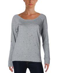 Aqua - Womens Holey Distressed Long Sleeve Sweatshirt - Lyst