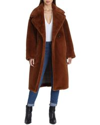Avec Les Filles - Oversized Faux Fur Double-breasted Coat - Lyst
