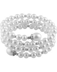 Splendid - White Freshwater Pearl 3 Rows Bangle - Lyst