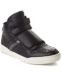 Bottega Veneta - Men's Intrecciato Leather High Top Sneaker Shoes Black - Lyst