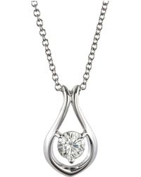 Charles & Colvard - Forever Classic Round 4.5mm Moissanite Drop Pendant Necklace, 0.33ct Dew - Lyst