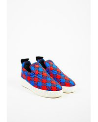 Céline - Red & Navy Blue Knit Patterned Slip On Platform Sneakers - Lyst