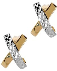 "Jewelry Affairs - 14k Two Tone Gold Shiny With Diamond Cut ""x"" Design Stud Earrings, 12mm - Lyst"