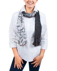 Emanuel Ungaro - Un7018 S8058 Floral Mesh Print Grey Silk Scarf - Lyst