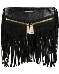 DSquared² - Women's Black Leather Clutch - Lyst