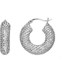 Jewelry Affairs - Sterling Silver With Rhodium Finish Fancy Round Puffy Hoop Earrings, Diameter 20mm - Lyst