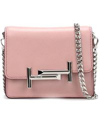 Tod's - Women's Pink Leather Shoulder Bag - Lyst