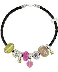 Catherine Malandrino - Leather Bracelet With Nine Sterling Silver Charms - Lyst