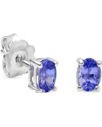 Amanda Rose Collection - Genuine Oval Tanzanite Stud Earrings In Sterling Silver ( 6 X 4mm 7/8ct Tw) - Lyst