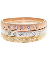 Adornia - 3 Band Set Silver, Yellow Gold Plated Silver, Rose Gold Plated Silver With Swarovski Crystal - Lyst