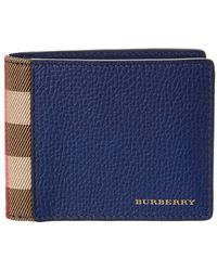 Burberry - House Check & Leather Bifold Wallet - Lyst