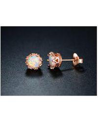 Peermont - 18k Gold Plated 7mm Opal Crown Stud Earrings - Lyst