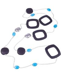 Jewelista - Silver, Ebony Wood And Turquoise Necklace - Lyst