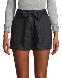 Saks Fifth Avenue Black - Tie-waist Linen Short - Lyst