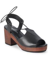 Kelsi Dagger Brooklyn - Self-tie Leather Block Heel Sandal - Lyst