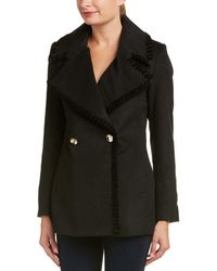 Belle By Badgley Mischka - Chiara Velvet-trim Wool-blend Coat - Lyst