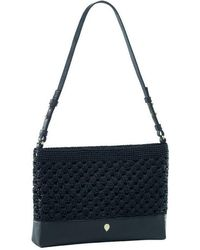 Helen Kaminski - Dotsie Raffia & Leather Clutch - Lyst