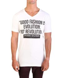 Balmain - Men's Graphic Logo V-neck T-shirt Raw White - Lyst