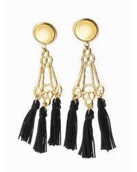 Viviane Guenoun - Pyramid Tasseled Gold Plated Earrings - Black - Lyst