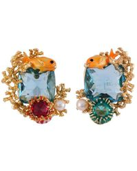 Les Nereides - Atlantide Fish Anemone And Corals On Blue Stone Earrings - Lyst