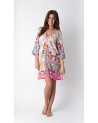 Yuka Beach - Floral 3 Quarter Sleeve Cover Up - Lyst