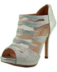 De Blossom Collection - Yael Women Open-toe Canvas Silver Heels - Lyst