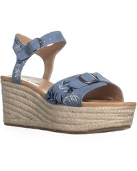 Lucky Brand - Naveah2 Embroidered Wedge Sandals, Faded Denim - Lyst