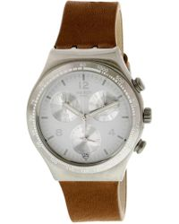 Swatch - Botillon Ycs597 Silver Leather Swiss Quartz Fashion Watch - Lyst