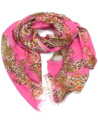 La Fiorentina - Women's Scarf With Animal/floral Print - Lyst