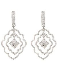 Adornia - Sterling Silver And Swarovski Crystal Marquis Floral Earrings - Lyst