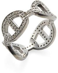 Adornia | Sterling Silver And Champagne Diamond Links Ring | Lyst