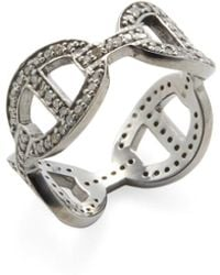 Adornia - Sterling Silver And Champagne Diamond Links Ring - Lyst