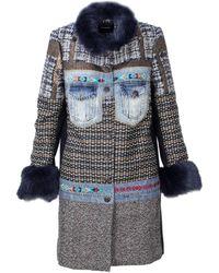 Desigual - Women's Blue Polyester Coat - Lyst