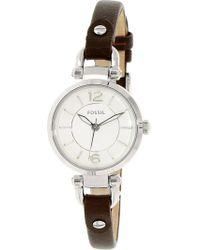 Fossil - Women's Georgia Es3861 Brown Leather Quartz Fashion Watch - Lyst