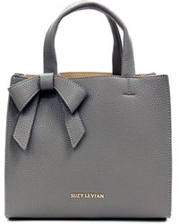 Suzy Levian - Pebbled Faux Leather Satchel With Bow - Lyst