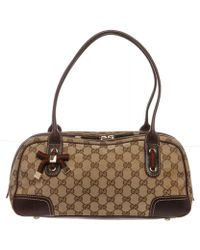 Gucci - Pre Owned - Beige Brown Canvas Monogram Princy Boston Bag - Lyst