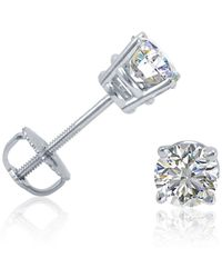 Amanda Rose Collection - Ags Certified 5/8ct Tw Round Diamond Stud Earrings In 14k White Gold With Screw Backs - Lyst