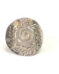 Jewelry Affairs - Greek Olive Leaf Andf Spira Disc Ring In Rhodium Plated Sterling Silver - Lyst