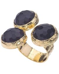 Jewelista | 18k Gold Plate & Onyx Floating Ring | Lyst