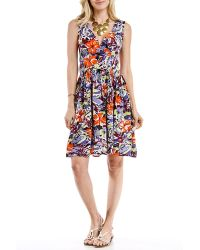 Blue Plate - Plus Size Blue & Orange Floral Surplice Dress - Lyst