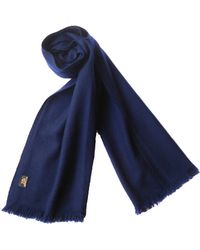 Plush Cashmere - Navy Blue Twill Weave Cashmere Stole - Lyst