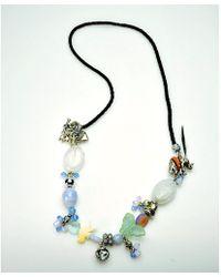 Otazu - Elephant And Butterfly Swarovski Crystal And Stone Necklace - Lyst
