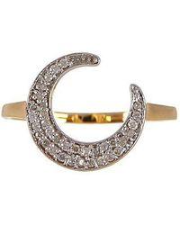 Vanhi - 14k Yellow Gold & White Diamond Moon Ring - 0.17 Ctw - Lyst