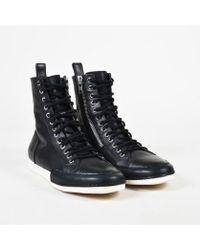 "Haider Ackermann - 11 Men's Black & White Leather ""alexan"" High Top Sneakers - Lyst"