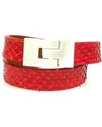 Leighelena - Double Wrap Red Python Jigsaw Buckle Bracelet - Lyst