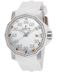 Corum - Women's Admiral's Cup Diamond White Rubber And Dial - Lyst